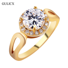 GULICX Fashion Size 8 Jordans Women Halo Big Finger Band Gold Plated Ring Round Cut Crystal CZ Zircon Wedding Jewelry R326(China (Mainland))