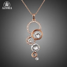 AZORA Rose Gold Plated Pure Clear Simply Small Round 1 carat Cubic Zirconia Pendant Necklace TN0046(China (Mainland))