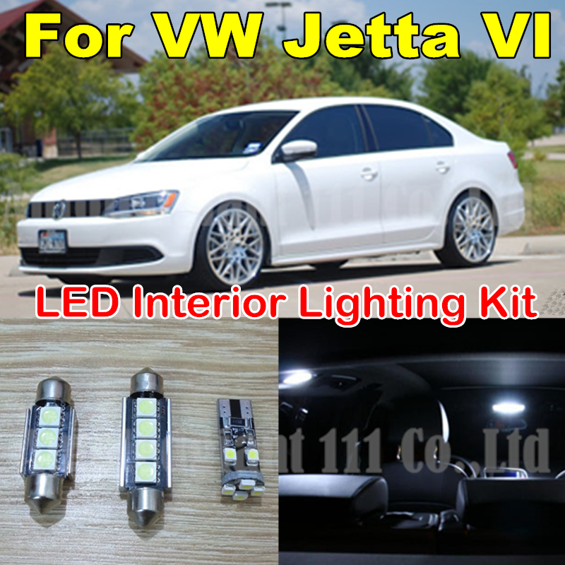 9X Canbus Cold White Error Light Volkswagen VW Jetta MK6 LED Interior light Kit Package Sedan 2011 2012 2013 2014 2015 - WLJH Carparts Store store