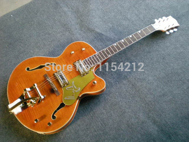 Hot Selling Cheap Price Electric Guitar Flamed Maple Top Gretsch Guitar G 6120 Jazz with Hollow Body(China (Mainland))