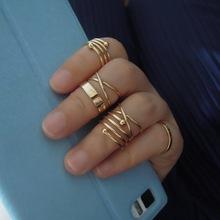 2014ล่าสุดแฟชั่นพังก์g old p latedซ้อนmidiแหวนชุดสำหรับชุดผู้หญิงbagues bijouxขายส่ง