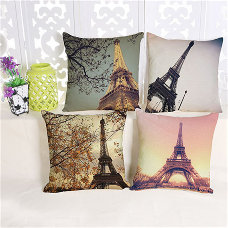 The Romantic Aesthetic Creative Paris Tower Cotton Pillow Decoration Pad Modern Minimalist Office Home Furnishing Pillow