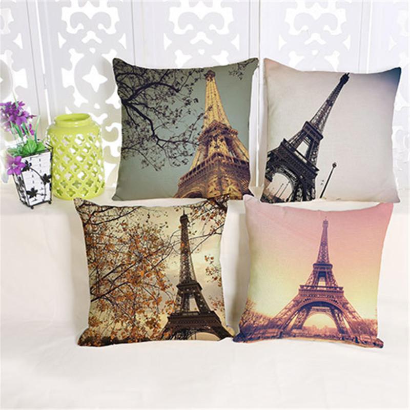 The Romantic Aesthetic Creative Paris Tower Cotton Pillow Decoration Pad Modern Minimalist Office Home Furnishing Pillow