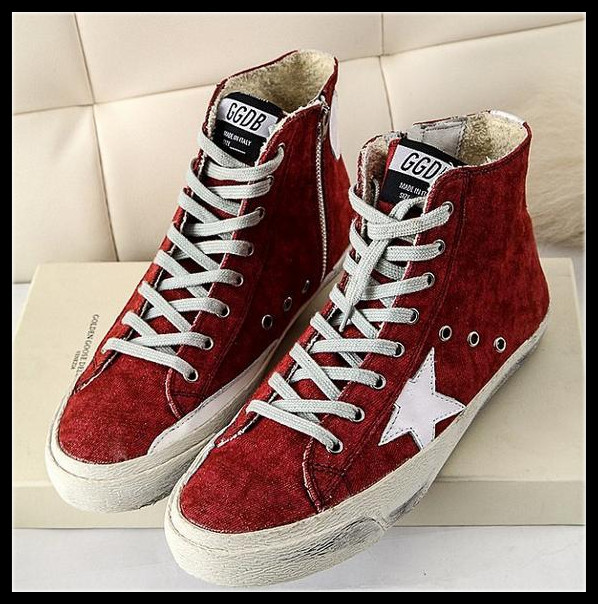 Latest Listed 2015 ITALY Golden Goose GGDB SSTAR Fomale Canvas Shoe Women Adhesive Shoes High Top Casual Student