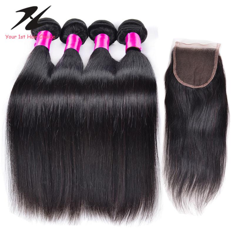 Peruvian Virgin Hair Straight With Closure 4 piece Peruvian Human Hair And Closure Ms lula Hair Peruvian Straight With Closure<br><br>Aliexpress