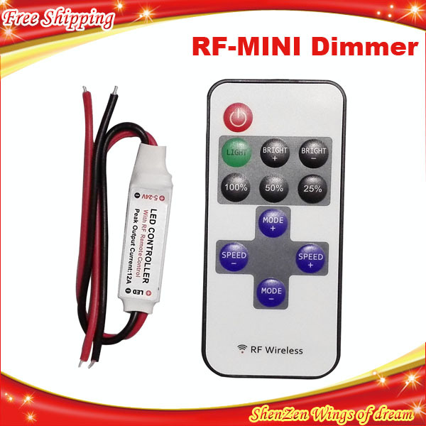 Single Color Remote Control Dimmer DC 12V 11keys Mini Wireless RF LED Controller for led Strip light SMD 5050 / 3528(China (Mainland))