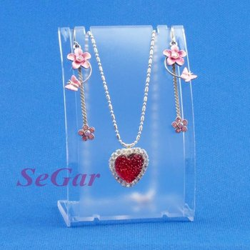 Free Shipping 8 Plastic Frosted Necklace Earring Set Display Stand Holder AF-300-1