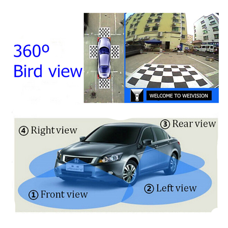 Universal 360 degree bird View Car DVR record surround view system with 4HD rear view front side view camera with USB sport<br><br>Aliexpress