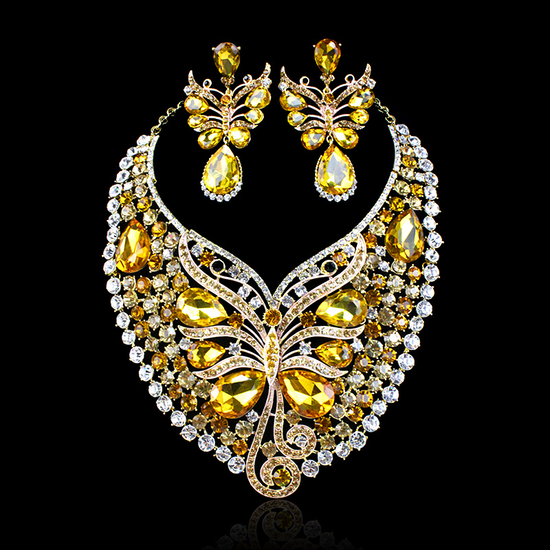 Aliexpress Buy Hot Sale Butterfly Crystal Big Necklace Earrings Party Jewelry Set Indian