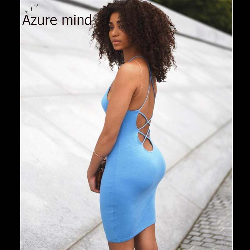 Azure mind new arrival women sexy feminine dress 2016 summer style backless hollow out evening party bandage dresses plus size(China (Mainland))
