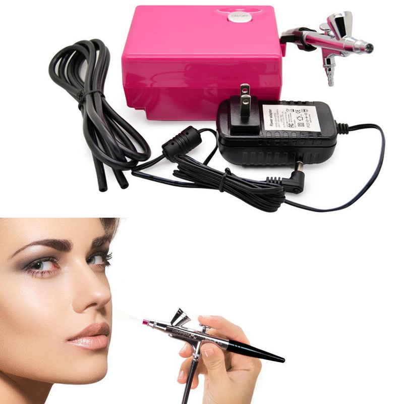 EU plug Airbrush compressor kit portable spray make up set cake decorating for nail/ tattoos/Party Cosmetics Mini Homeuse DIY(China (Mainland))