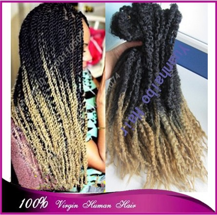 Stocking! top quality 20 two tone color black/blonde kanekalon synthetic hair afro kinky twist ombre marley braid<br><br>Aliexpress
