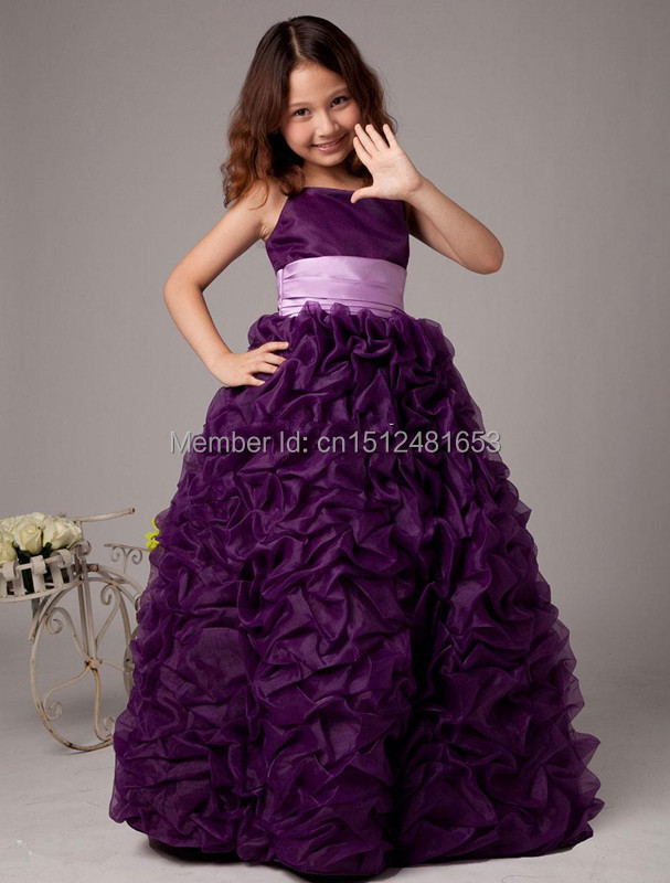 2015 Cute Cheap Girl Dress One Shoulder Floor Length Grape Purple Tulle Flower Girl Dress Little Girls Beauty Pageant Dress(China (Mainland))