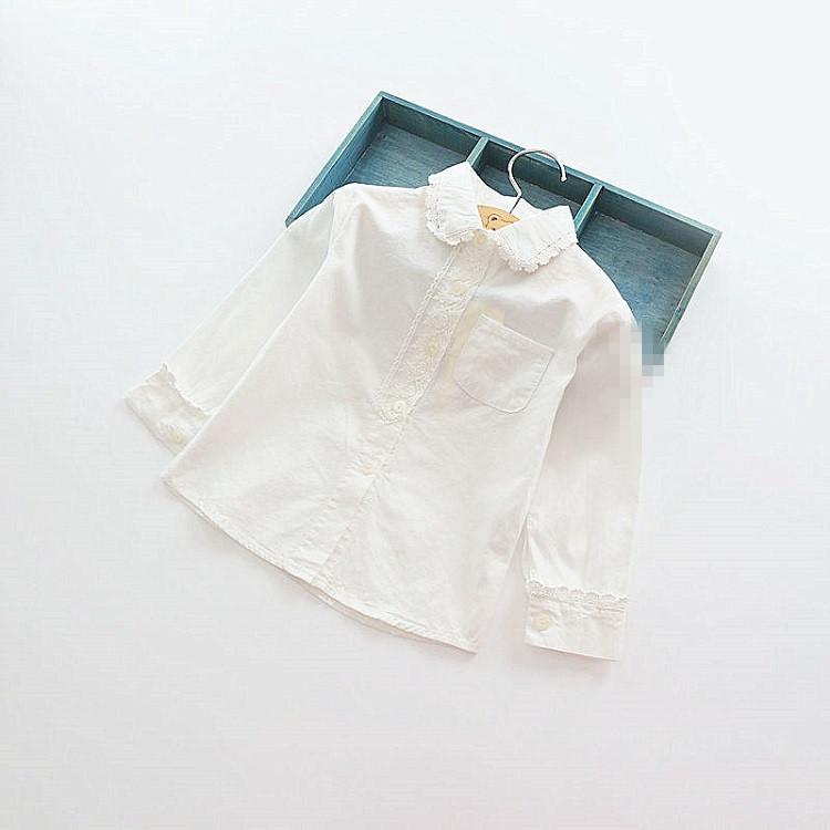 5pcs/lot girls white shirt cute peter pan collar lace spring girls clothes cotton girls shirts kids blouse girl clothing 2-7Y
