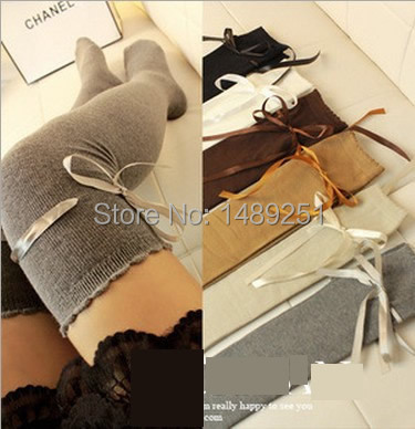 New Style Women Boot Socks Over Knee Cotton Lace Bow Thigh High Sock 10 Colors Cheap Wholesale(China (Mainland))