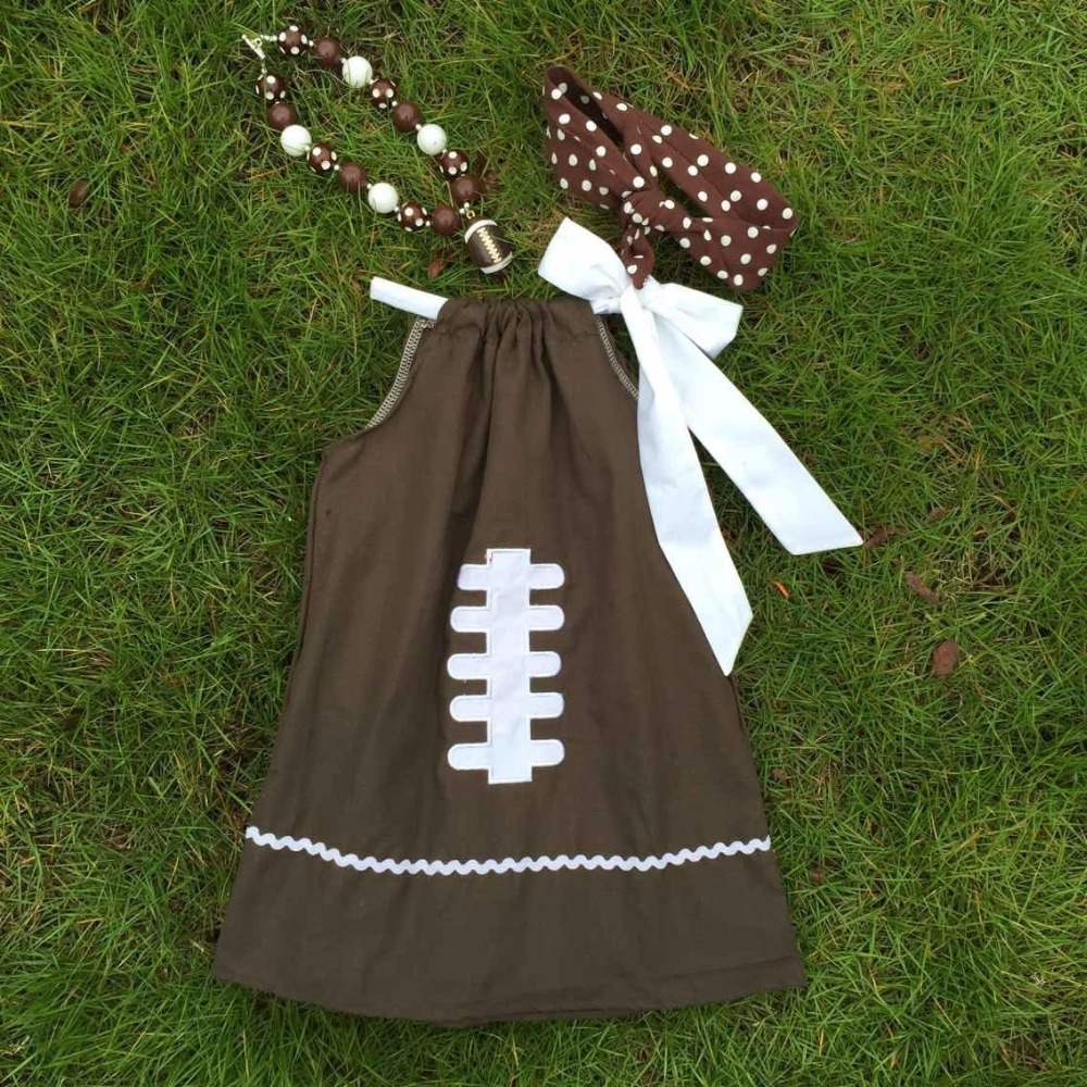 Football dress new design dress for girls clothes 100%cotton cute children's kids clothes with matching necklace and headband(China (Mainland))
