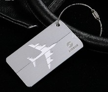 Airbus / Boeing Metal luggage tag Aluminum alloy silver air plane travel tags identity card lock special personality cool(China (Mainland))