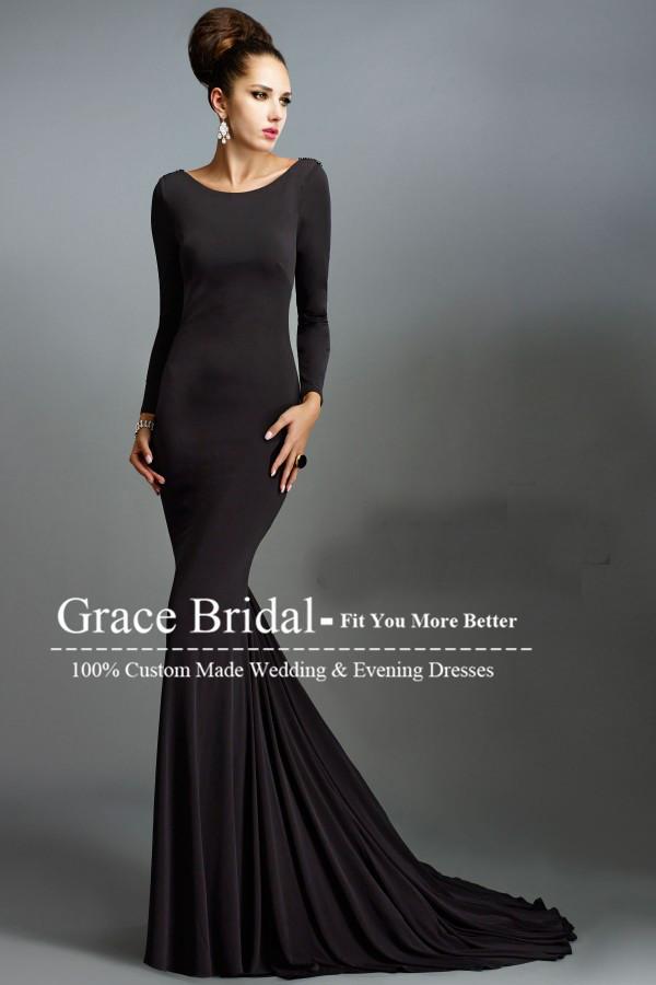 Long sleeved black evening dress