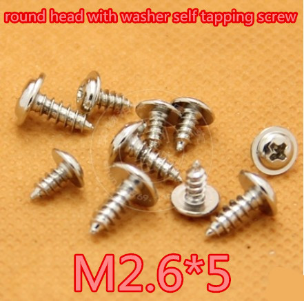 1000pcs/lot M2.6*5mm 2.6mm Phillips Round Head With Washer Micro Self Tapping Screw Round washer head screw<br><br>Aliexpress