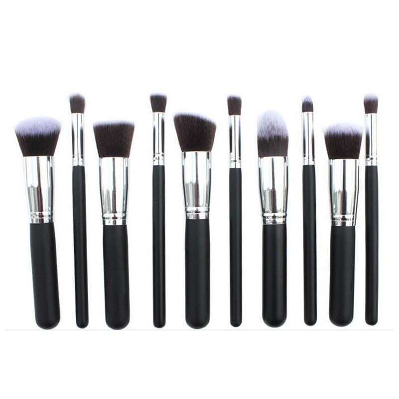 10Pcs Black Handle Makeup Brush Set Eyeshadow Foundation Powder Facial Makeup Brushes Professional Makeup Brushes Free Shipping(China (Mainland))