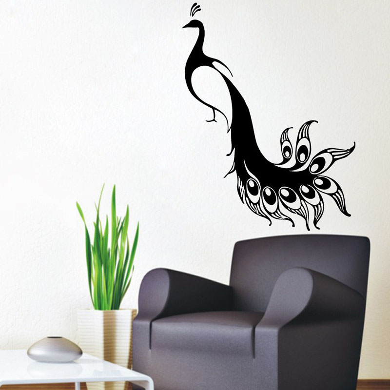 popular peacock wall decal buy cheap peacock wall decal lots from china peacock wall decal. Black Bedroom Furniture Sets. Home Design Ideas
