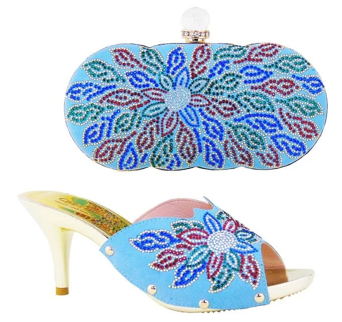 Matching Shoes and Bags Italy for Wedding Green Color African Shoe and Bag Set Heel Height 10cm Italian Shoe 1701v0522d28