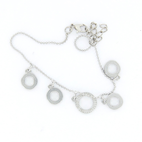 5 pcs Promotion ! Silver Anklet Foot Chain Ankle Bracelet 5 Rhinestone Circles(China (Mainland))