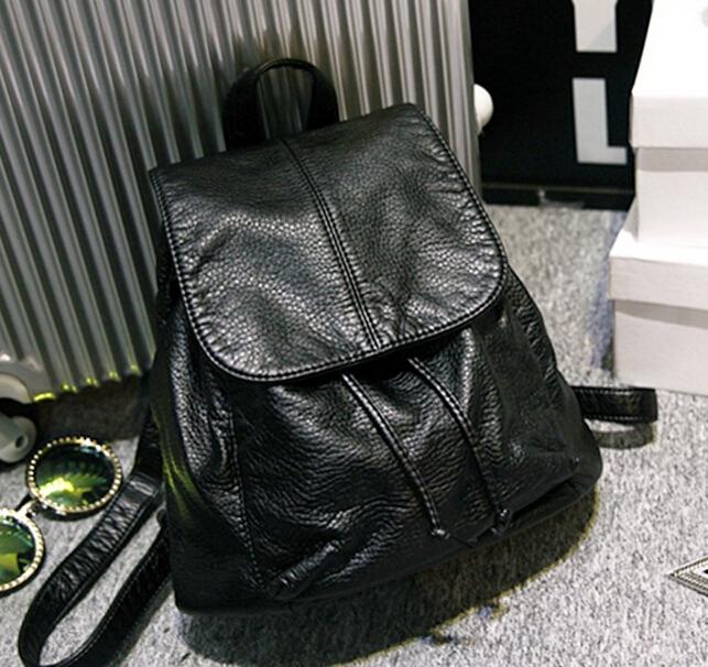 2016 Spring New Soft Leather Shoulder Bag Korean Tide Washed Leather Bag College Wind Leisure Travel Backpack Schoolbag(China (Mainland))