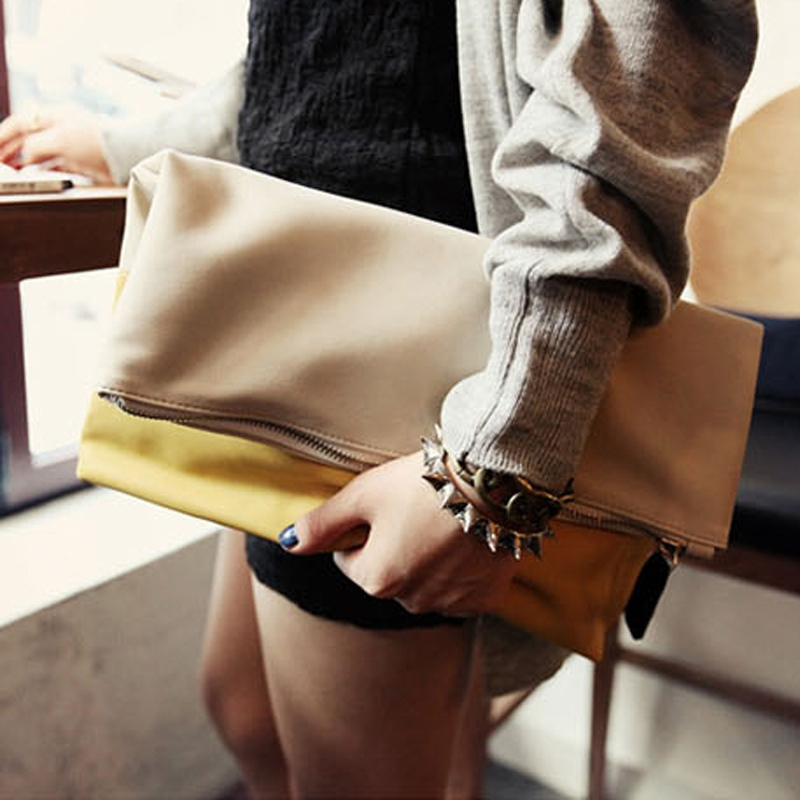 bolsos mujer de marca famosa 2015 women envelope bags briefcase Stitching  Package Folding Wristlet evening bag<br><br>Aliexpress