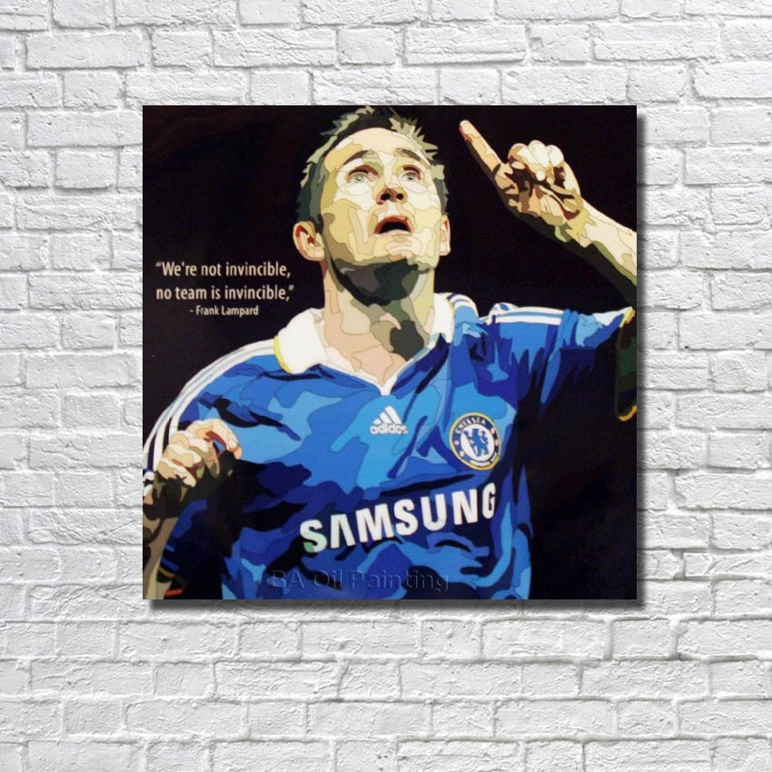 With Framed Frank Lampard Football Poster Pop Art Handpainted Canvas Oil Painting Wall Art Gift Home Decoration Picture RW385(China (Mainland))