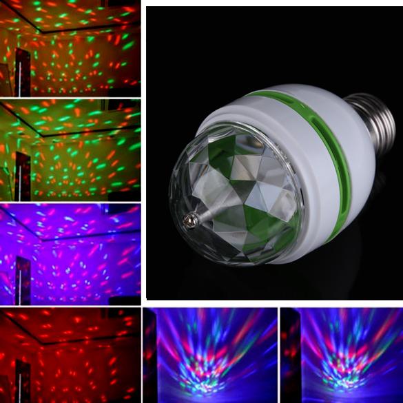 Universal Usage E27 3W Colorful Auto Rotating RGB LED Bulb Stage Light Party Lamp Disco K5BO(China (Mainland))