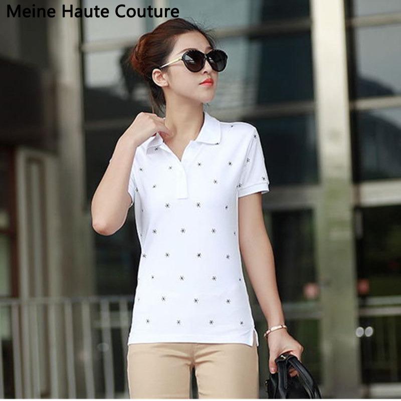 4XL Causal Slim Solid Embroidery Polo Women Shirt Cotton Turn-down Collar Women's Polo Shirt polos mujer manga corta marca(China (Mainland))