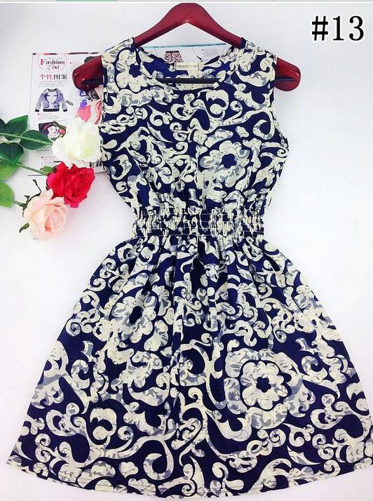 Нескольких Цветов Весна Лето Новых Корейских Женщин Случайные Чешский Цветочные Рукавов О-Образным Вырезом Жилет Печатных Пляж Платье Шифон Свадебные Платья