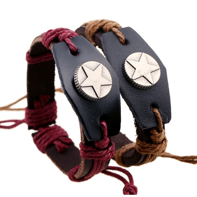 JUJIE Leather Bracelets Fashion Elegant Trendy 2 Colors Star Bracelets For Women&Men Bracelet Grande Expandable Bangles - 4(China (Mainland))