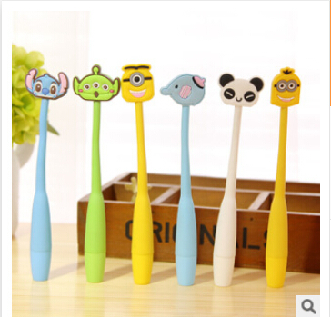 Cute Yellow people Ballpoint Pens for Kids Children Students Kawaii School Stationery Ball Pens Accessories Gift pen(China (Mainland))