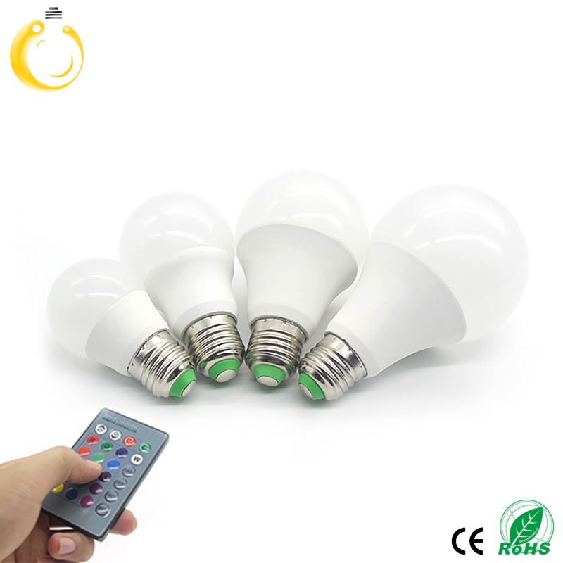 NEW E14 LED RGB Bulb E27 RGB LED Lamp Lampara GU10 110V 220V High Power LED Light Lamp Energy Saving With 24key IR Remote(China (Mainland))