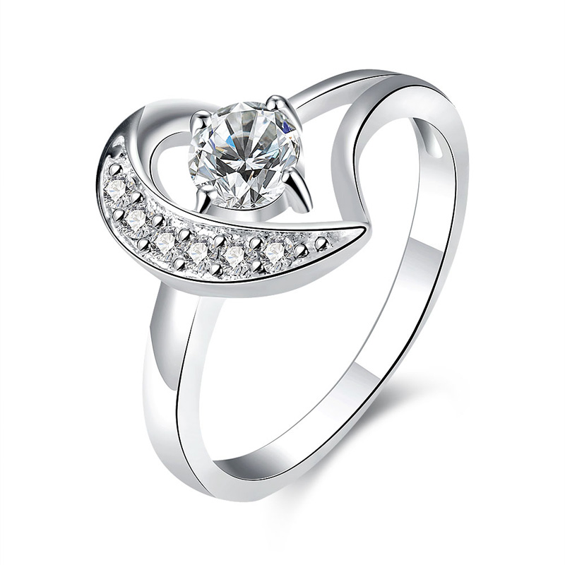 Female Luxury Wedding Ring With CZ Crystal Silver Plated Heart Rhinestone Engagement Brand Finger Rings For Women Gift Jewel(China (Mainland))