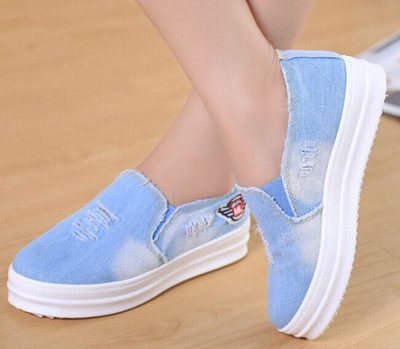 high quality Denim Canvas Shoes For Women canvas shoes blue color size 35-40 women canvas shoes(China (Mainland))
