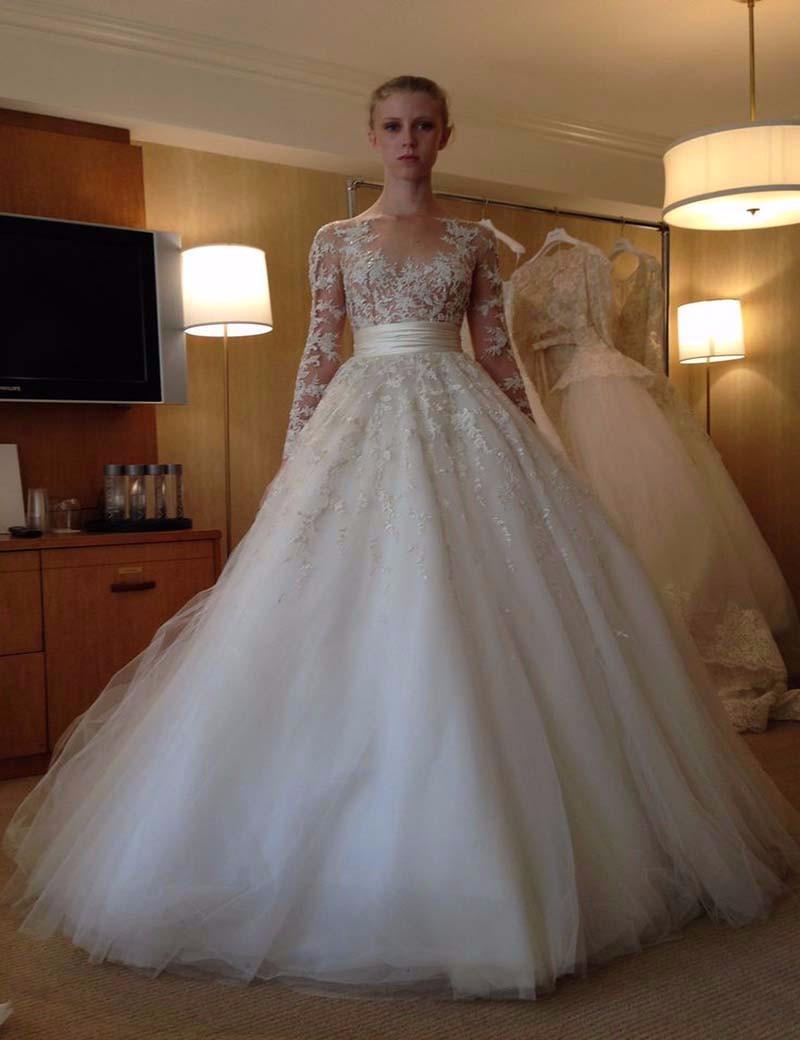 2016 elegant ball gown wedding dresses v neck with long for Elegant wedding dresses with long sleeves