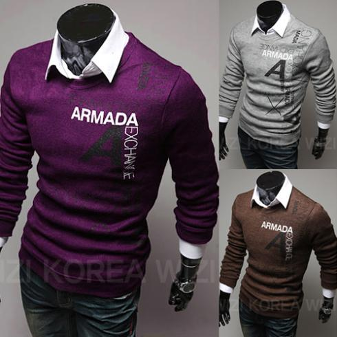 Hot Men's Fashion words printed Casual Long Regular Sleeve Knitted O-Neck men sweater Pullovers sweater 3 colors 4 size Novelty(China (Mainland))