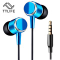 Universal Colorful Metal Zipper Style Earphone Fashion Headset With 3.5mm Connector Microphone Stereo Bass for phone pad MP3 MP4