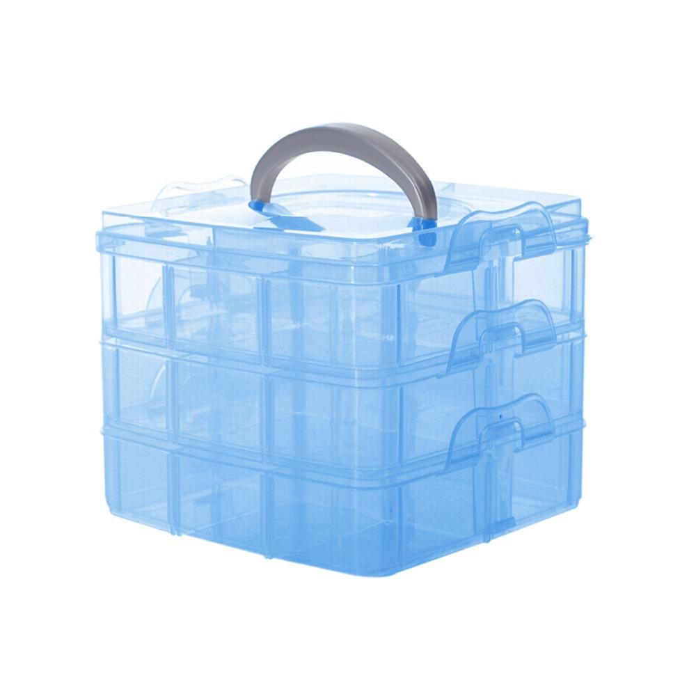 Transparent 2015 Plastic 3 floor detachable Portable Storage Container Organizer Tools Box Case Boxes(China (Mainland))