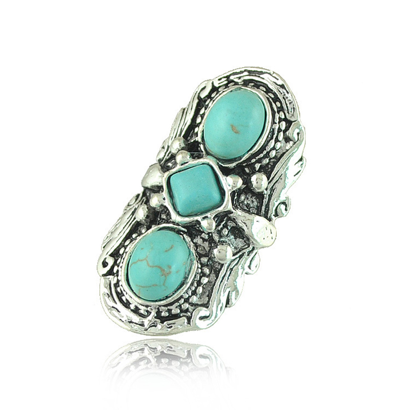Top Quality 925 Sterling Sliver Plated 3pcs Turquoise Finger Rings Elegant Brand Jewelry For Women Fine Jewelry Wholesale RW1019(China (Mainland))