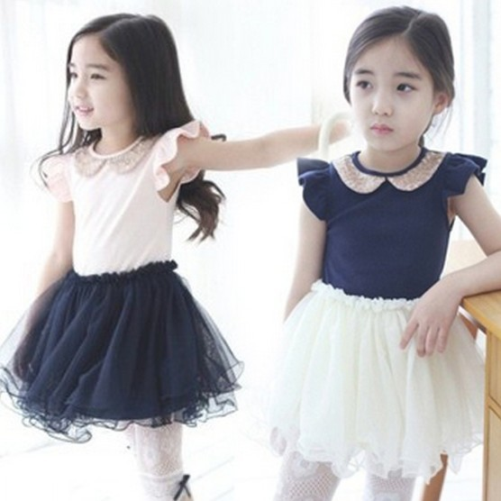 Kids Dresses Girls 2015 Summer Korean Children Costumes Sequins Gauze Fly Sleeve Baby Tutu Dress Princess TR108 - Kid Monopoly Shop store