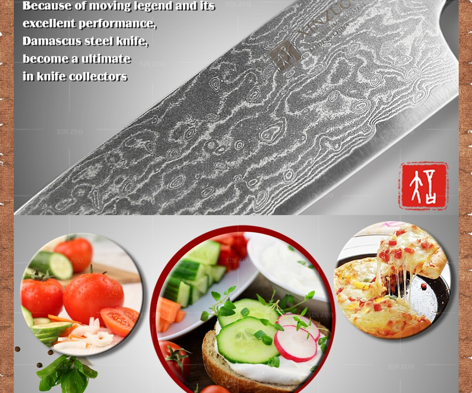 "Buy XINZUO 5"" santoku knife Japanese Damascus kitchen knives Japanese chef fruit knife double forged color wood handle FREE SHIPPING cheap"