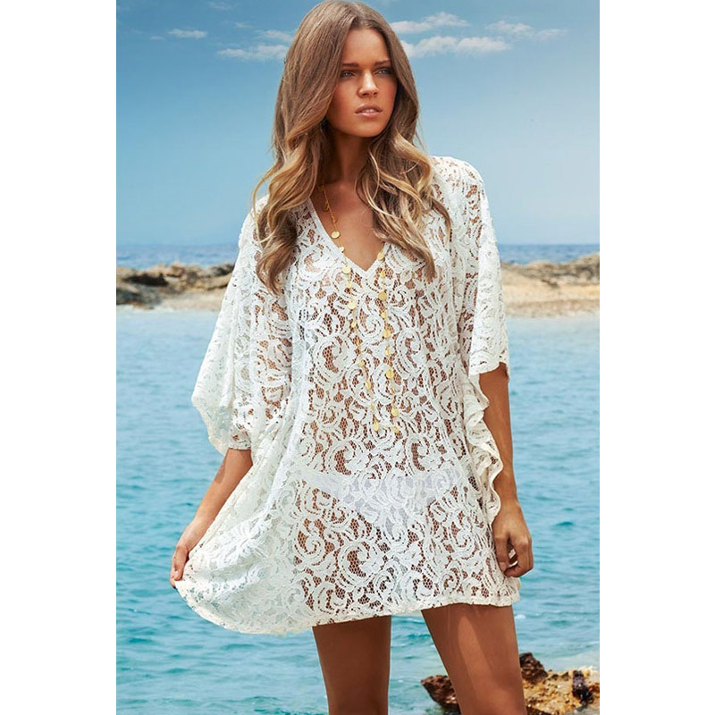Vestidos De Baño Sol Blanco:Kaftan Beach Dress