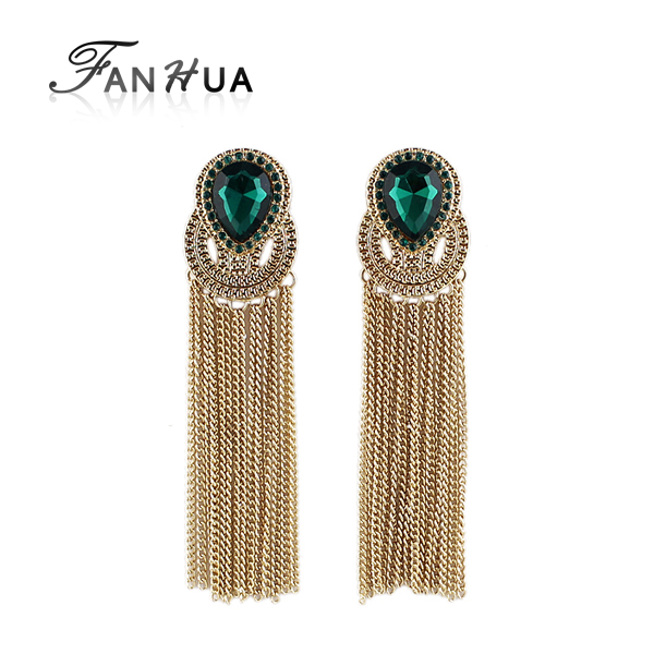 Brincos Grandes Long Tassel Perfumes And Fragrances For Women Drop Earrings Brincos Gold Color Green Hotpink Rhinestone(China (Mainland))
