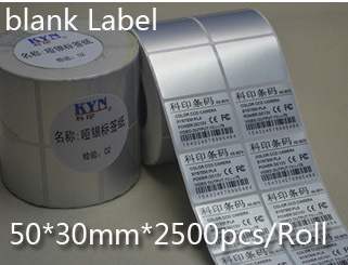 50*30mm 2500pcs/Roll matte silver paper Thermal transfer blank PET barcode Labels adhesive printed label sticker,Free shipping(China (Mainland))