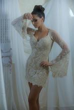 Luxe dentelle appliques col v gaine Cocktail robe manches longues robe de retour Mini short robe de bal ED436(China (Mainland))