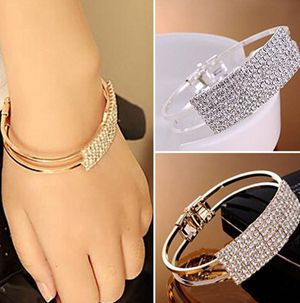 100% New Dazzling Crystal Bling Wristband Design Bracelet Diamonte Cuff Bangle With Low Price(China (Mainland))
